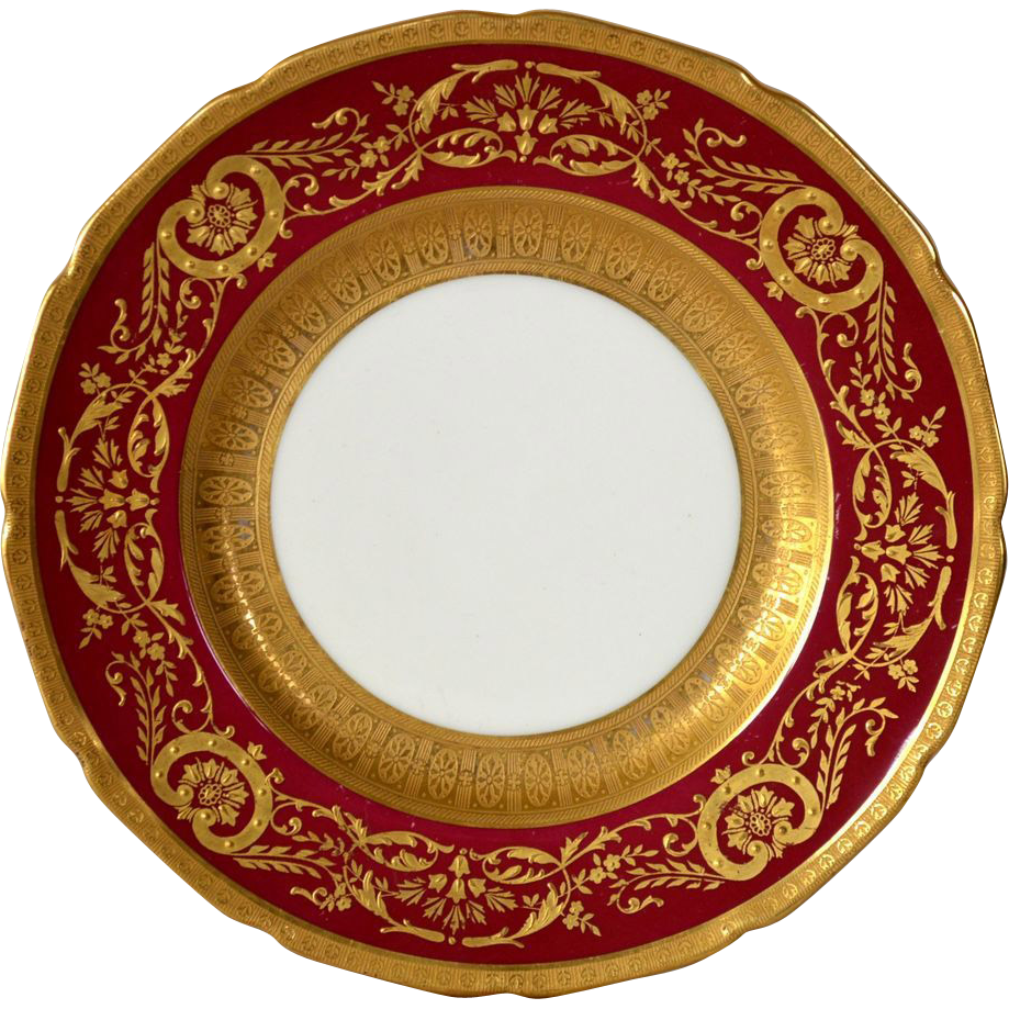 Elegant English China Cabinet Plate ~ Deep Red with Gold ~ Royal Doulton  Burlsem England / Ovington's Chicago / New York 1902-1922