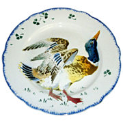 Delightful French Faience Plate ~ Hand Decorated with Colorful Duck ~ Keller & Guerin Luneville France 1890-1930