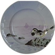 Delightful French Faience Plate ~ Hand Decorated with Colorful Seashore Bird ~ Keller & Guerin Luneville France 1890-1930