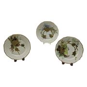 Set of 3 Exquisite Limoges Floral Plates with Heavy Gold Paste Floral Decorations ~ Haviland & Co Limoges France 1887
