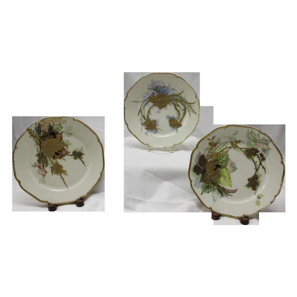Set of 3 Exquisite Limoges Floral Plates with Heavy Gold Paste Floral Decorations ~ Haviland & Co Limoges France 1887