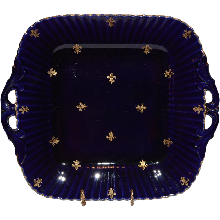 Wonderful French Cobalt Cake Plate / Sandwich Tray with Golden Fleur de Lis ~ Utzschneider & Co Sarreguemines France 1889 -1892