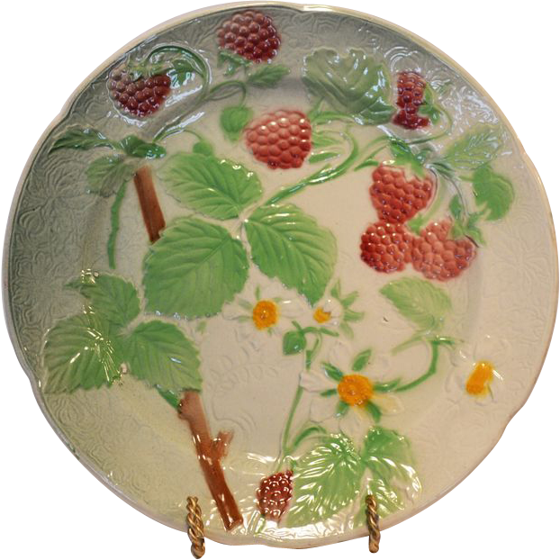 Pretty French Majolica Faience ~ Ripe Red Raspberries~  St Clement France  early to mid 1900's