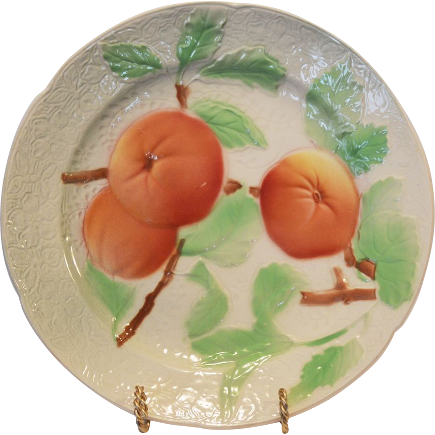 Nice French Majolica Faience Plate with fruit ~ St Clements, France mid 1900s