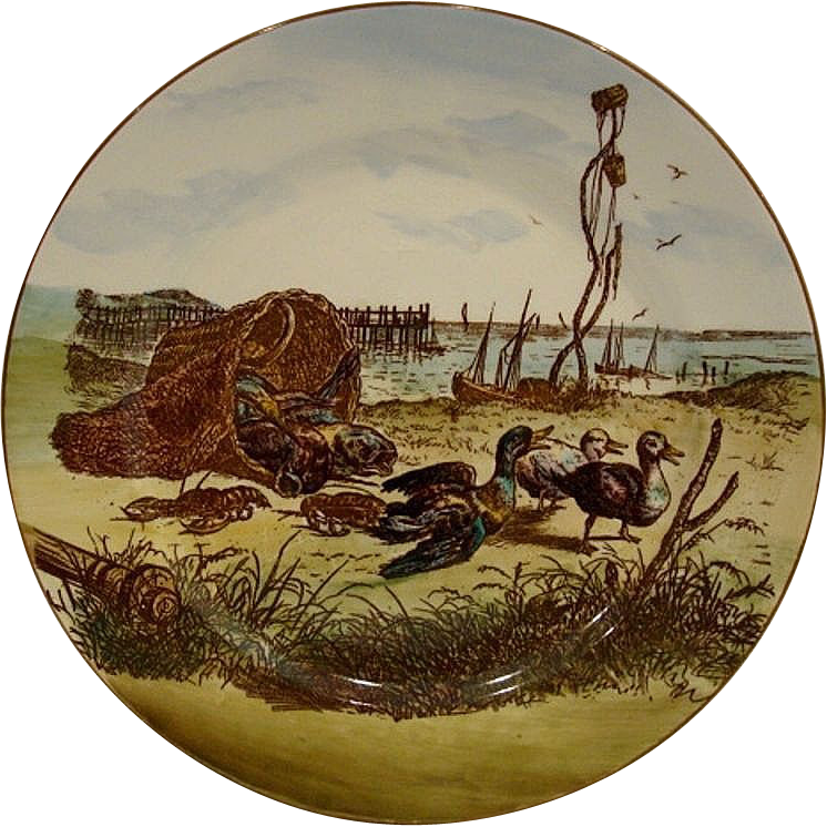 Adorable Antique Earthenware Plate  ~Polychrome Design of  Seaside,Ducks and Lobsters ~ Cauldon LTD - Brown-Westhead, Moore  Co. 1891-1920