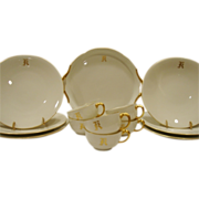 Gorgeous 13 Piece Limoges Dessert / Sandwich Set  ~ Dragon Handles ~ White & Gold ~ Jean Pouyat Limoges France 1890-1932