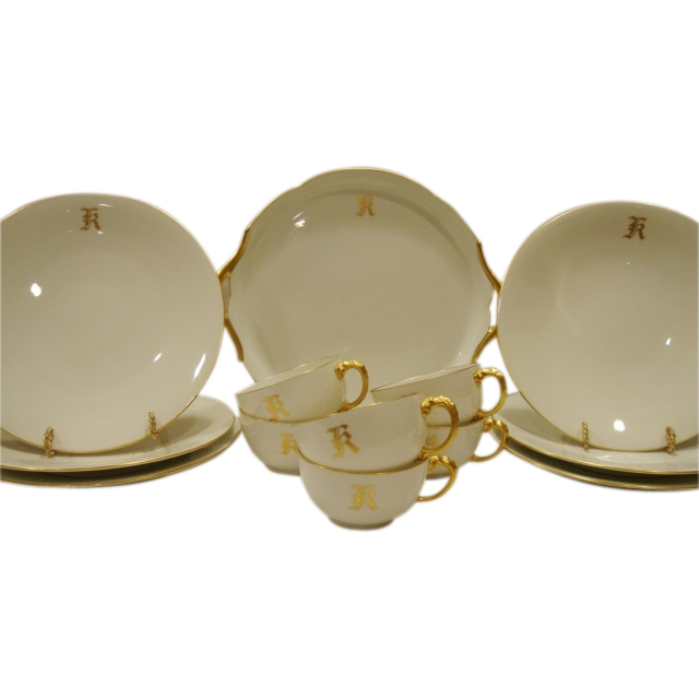 Gorgeous 13 Piece Limoges Dessert / Sandwich Set  ~ Dragon Handles ~ White & Gold ~ Jean Pouyat Limoges France 1890-1932