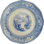 Gorgeous blue & White Transfer Ironstone ~ 12 Sided Plate~ ALLEGHENY PATTERN ~ T. GOODFELLOW Staffordshire England 1824-1854