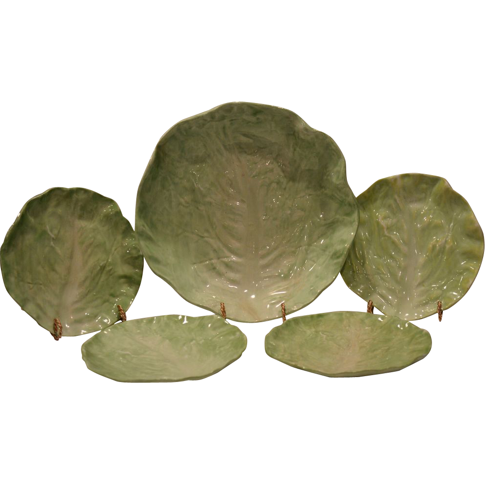 "Awesome Majolica Lettuce Leaf Set 4 – 6 ¼"" Salad / Fruit Plates and 9 3/8"" W Salad / Fruit Bowl""~ Wannopee Pottery 1901-1903"