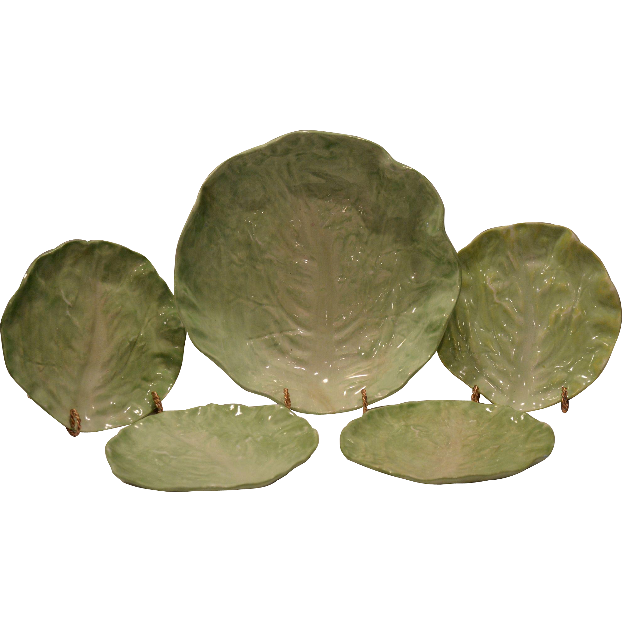 Majolica Lettuce Leaf Set ~Salad / Fruit Bowl with Four Plates –~ Wannopee Pottery 1901-1903