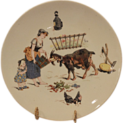 Adorable Sarreguemines French Faience Cabinet Plate ~ Decorated with Barn Scene with Goat & Chickens ~ UTZCHNEIDER & CO (Sarreguemines, France) - ca 1870-1920
