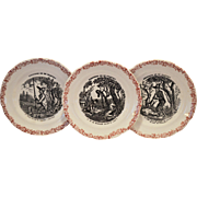 Wonderful French Faience Plates ~ Hunting Scenes~ 4, 6  from Series Medailles d'Or Questions de Mr. Crakfort ~ Hautin & Boulanger choisy le roi France 1875-1900