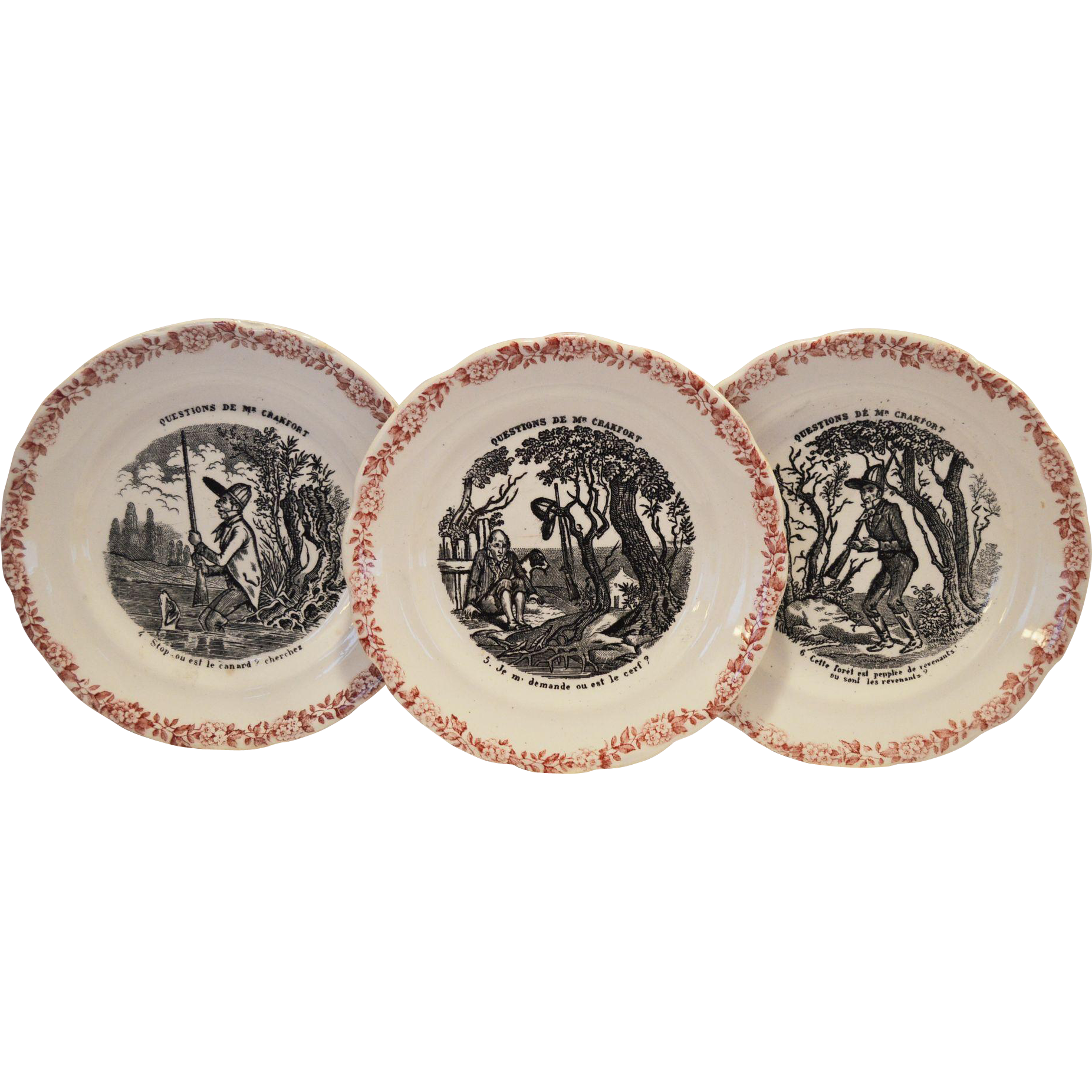 Wonderful French Faience Plates ~ Hunting Scenes~ 4,5 6  from Series Medailles d'Or Questions de Mr. Crakfort ~ Hautin & Boulanger choisy le roi France 1875-1900