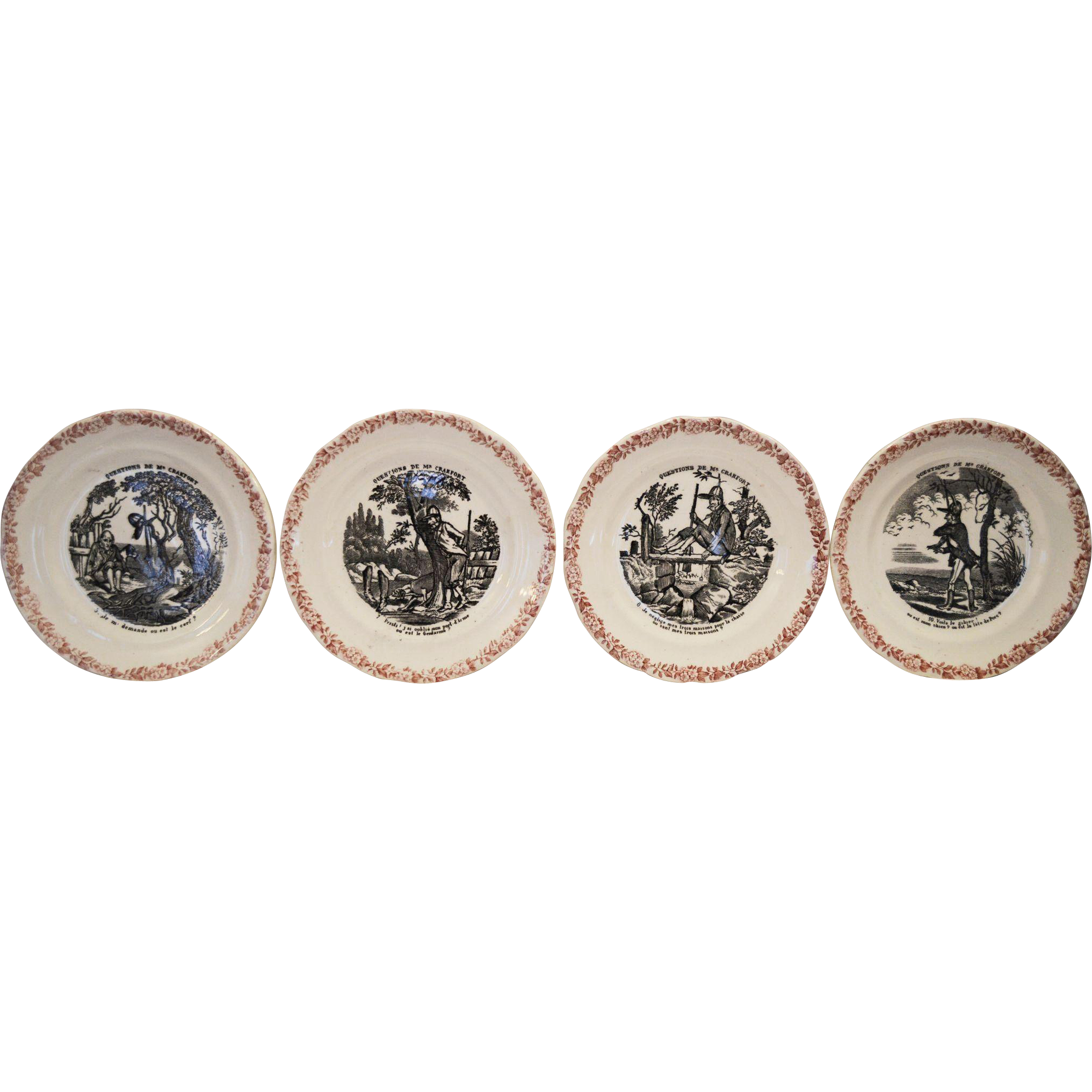 "Wonderful French Faience 6 1/2"" Plates ~ Hunting Scenes ~  5,7,8, 10  from Series Medailles d'Or Questions de Mr. Crakfort ~ Hautin & Boulanger choisy le roi France 1875-1900"
