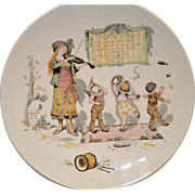 Wonderful French Faience Character / Story Plate  or Plaque ~ Woman Playing a Violin with Babies in Costumes Dancing~ Froment-Richard / Antoine-Albert Richard ~UTZSCHNEIDER & CO (Sarreguemines, France) – 1920-1950