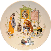 Neat French Faience Story Plate / Plaque ~ Man Fixing Distraught Young Lady's Porcelain ~ Froment-Richard / Antoine-Albert Richard ~ UTZCHNEIDER & CO [(Sarreguemines, France) - ca 1920-1950s
