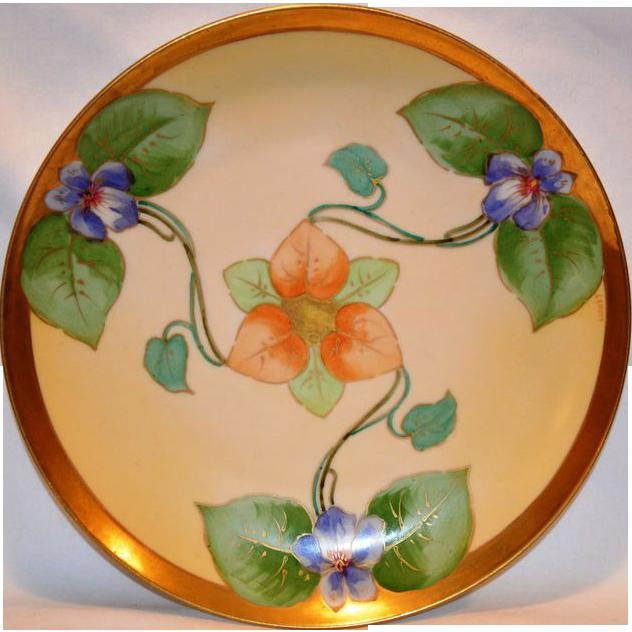 Gorgeous Violet Art Nouveau Plate ~ Limoges Porcelain ~ Hand Painted by Lamour ~ George Borgfeldt (Cornet) Limoges France 1908-1914