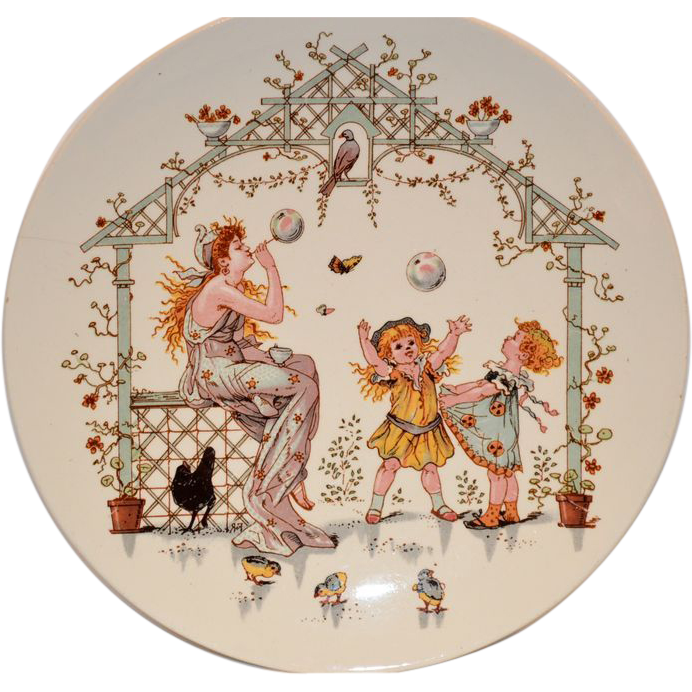 Adorable French Faience Story Plate / Plaque ~ Young Woman Blowing Bubbles for Children ~ Froment-Richard / Antoine-Albert Richard  ~UTZCHNEIDER & CO [(Sarreguemines, France) - ca 1875 - 1900