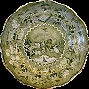 Amazing  Green English Transferware ~ Millennium Pattern – Peace on Earth ~ Staffordshire England 1830's – 1870's
