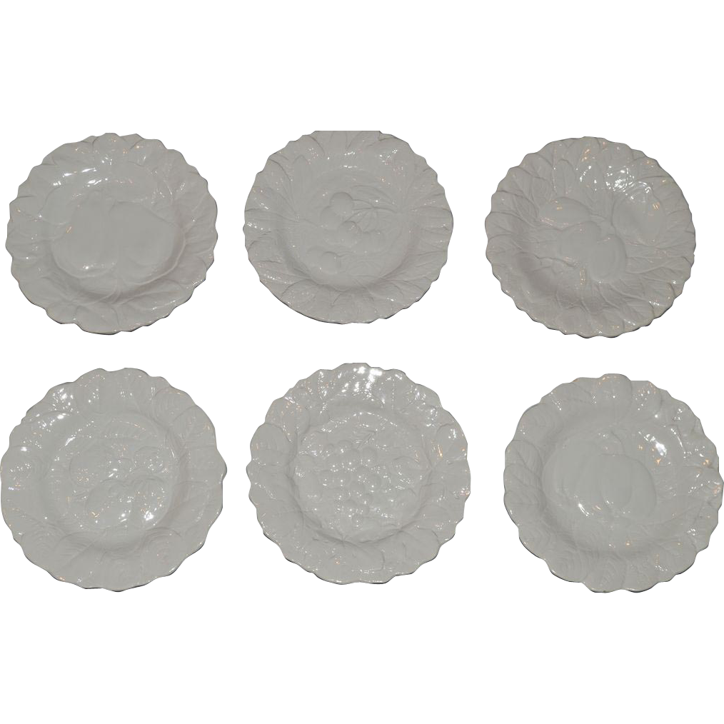 "Set of 6 ~ 7 ¾"" WHITE Salad / Dessert Plates ~ French Faience/  Majolica~  Fruit Design ~ Digoin And Vitry-Le-Francois (Sarreguemines, France) – 1920-1950"