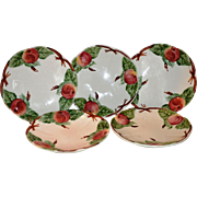 Set of 5 Beautiful Majolica / Faience Plates ~ Decorated with Colorful Red Apples ~ H Boulenger & CO Choisy le Roi France ~ 1860-1936