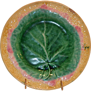 Exceptional American Majolica Plate ~ with Leaf Shape ~ Etruscan Griffin, Smith & Hill of Phoenixville, PA 1880-1892