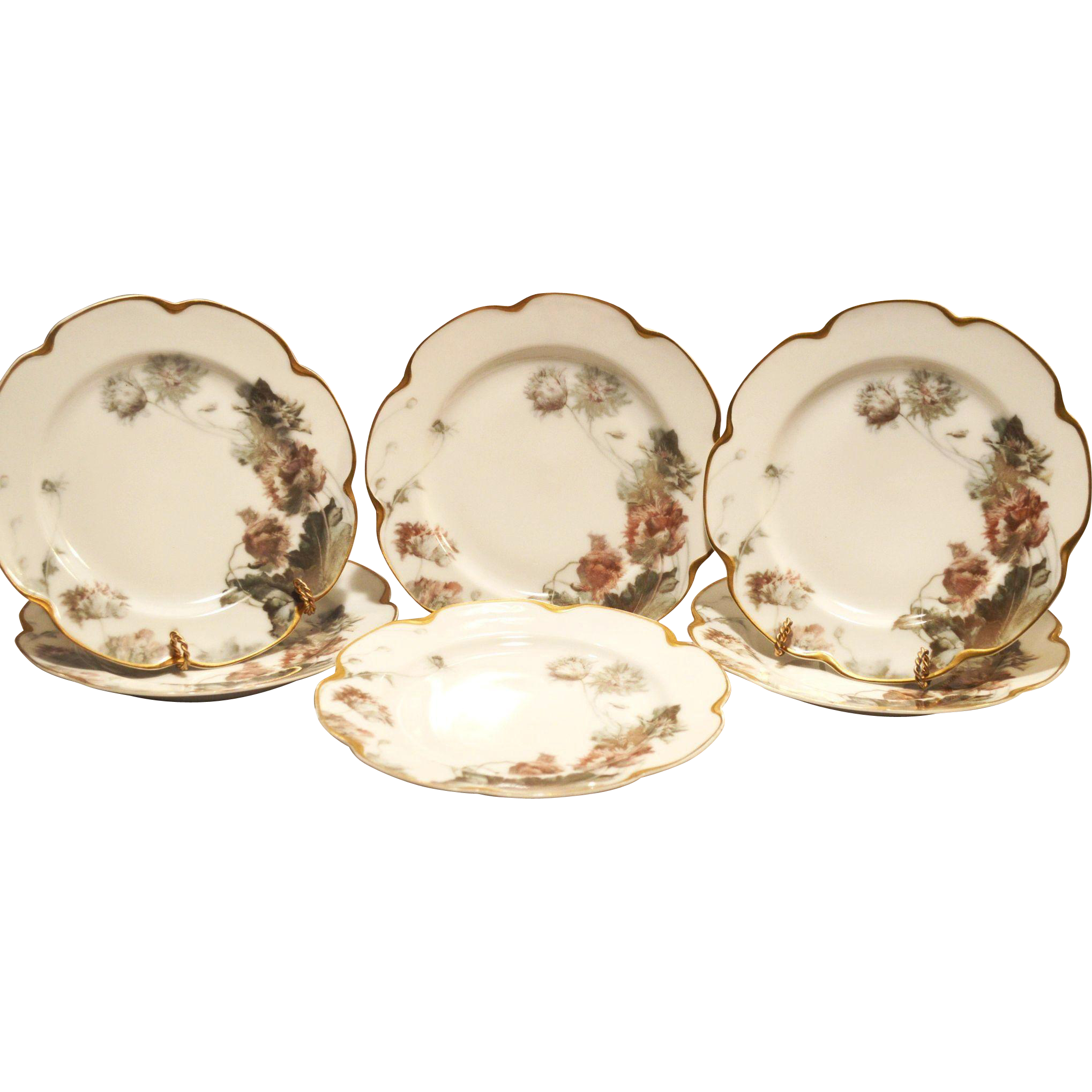 "6 Haviland Plates – 8 1/2"" W~  Limoges Feu de Four  Luncheon / Dessert ~ ""Parrot Tulip""  Pattern on Silver Anniversary / Schleiger #19 Mold ~ Haviland & Co 1893-1931"