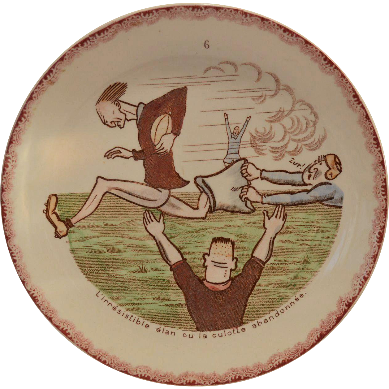 Plate~ French Faience ~ Football ~ Hautin & Baulanger Choisy le Roi France 1890-1930