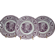 Set of 3 Cabinet Plates English Ironstone ~ Corinthia Pattern ~ Purple Transfer ~ E Challinor England ~ 1842-1867