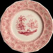Wonderful Cabinet Soup Plate / Bowl ~ 14 Sided ~Old English Ironstone ~ Red Transfer ~ Garden Scenery ~ T. J. & J. Mayer Longport, Burslem Staffordshire England  1842 – 1855