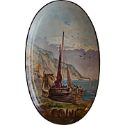 Beautiful Oval Plate ~ Hand Painted French Faience ~ Sailing Ship & Shoreline ~ HAUTIN & BOULANGER (or BOULENGER ) HB&C ~ Choisy-le-Roi France) - ca 1890 - ca 1930s