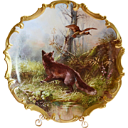 "REDUCED! 15 1/2"" Game Plaque / Charger / Plate~Limoges Porcelain ~ Hand Painted with Red Fox, Bird & Forest ~ Signed Dubois ~ Lazeyras Rosenfeld & Lehman early 1900's"