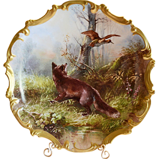 "Limoges Porcelain ~ 15 1/2"" Game Plaque / Charger ~ Hand Painted with Red Fox, Bird & Forest ~ Signed Dubois ~ Lazeyras Rosenfeld & Lehman early 1900's"