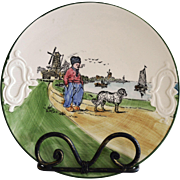 German Cake Plate With Dutch Scene of a Man and Dog ~ ZELL United Ceramic Factories - Georg Schmider (Germany) - ca 1907 – 1928