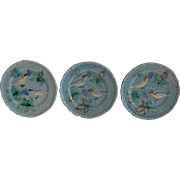 "3 - German Majolica Turquoise 6"" Plates~ Birds, grapes and Leaves ~ Highmount  Western Germany 1920's"