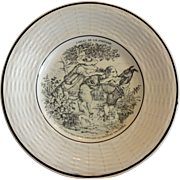 Porcelain Childs Plate ~ Fables de la Fontaine  ~ The Dog Who Carries His Master's Dinner Round His Neck  ~ Digion/Sarreguemines  France 1919-1940's