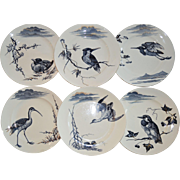 6 French Faience Plate Set with Hand Painted Cobalt Birds  ~ K & G Keller Guerin Luneville France 1860-1890