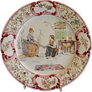 Cute French Faience Plaque Shoemaker selling Cinderella Slippers ~ UTZCHNEIDER & CO [(Sarreguemines, France) - ca 1890s - 1920s