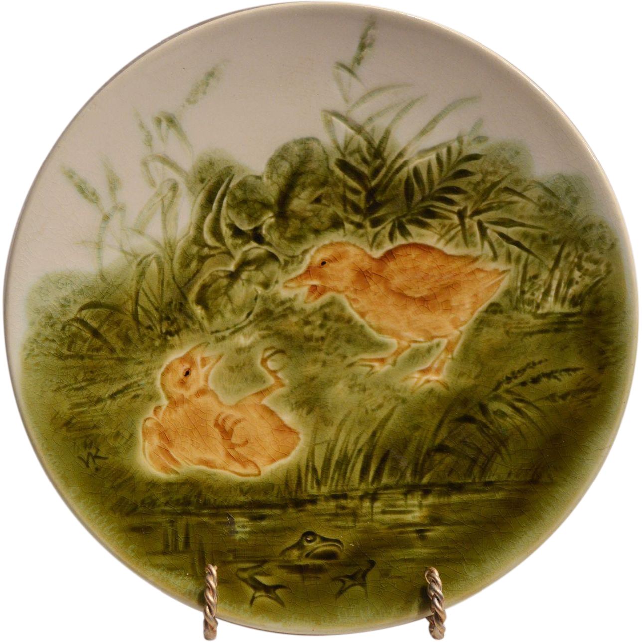 Adorable Spring Plate with Duckling, Chick and Frog ~ French Majolica / Faience ~ Sarreguemines France   1835-1900