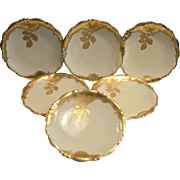 "Set of 6 Awesome 8 ¼""  Plates ~ Limoges Porcelain ~ Gold Encrusted Branches and Leaves ~ Bawo & Dotter Elite Works 1900-1914 Higgings & Seiter NY"