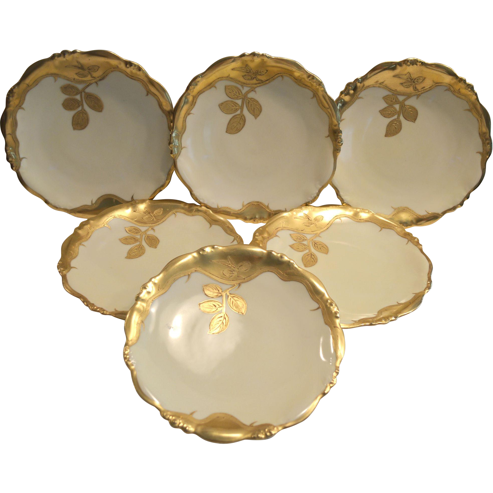 """Set of 6 Awesome 8 ¼""""  Plates ~ Limoges Porcelain ~ Gold Encrusted Branches and Leaves ~ Bawo & Dotter Elite Works 1900-1914 Higgings & Seiter NY"""
