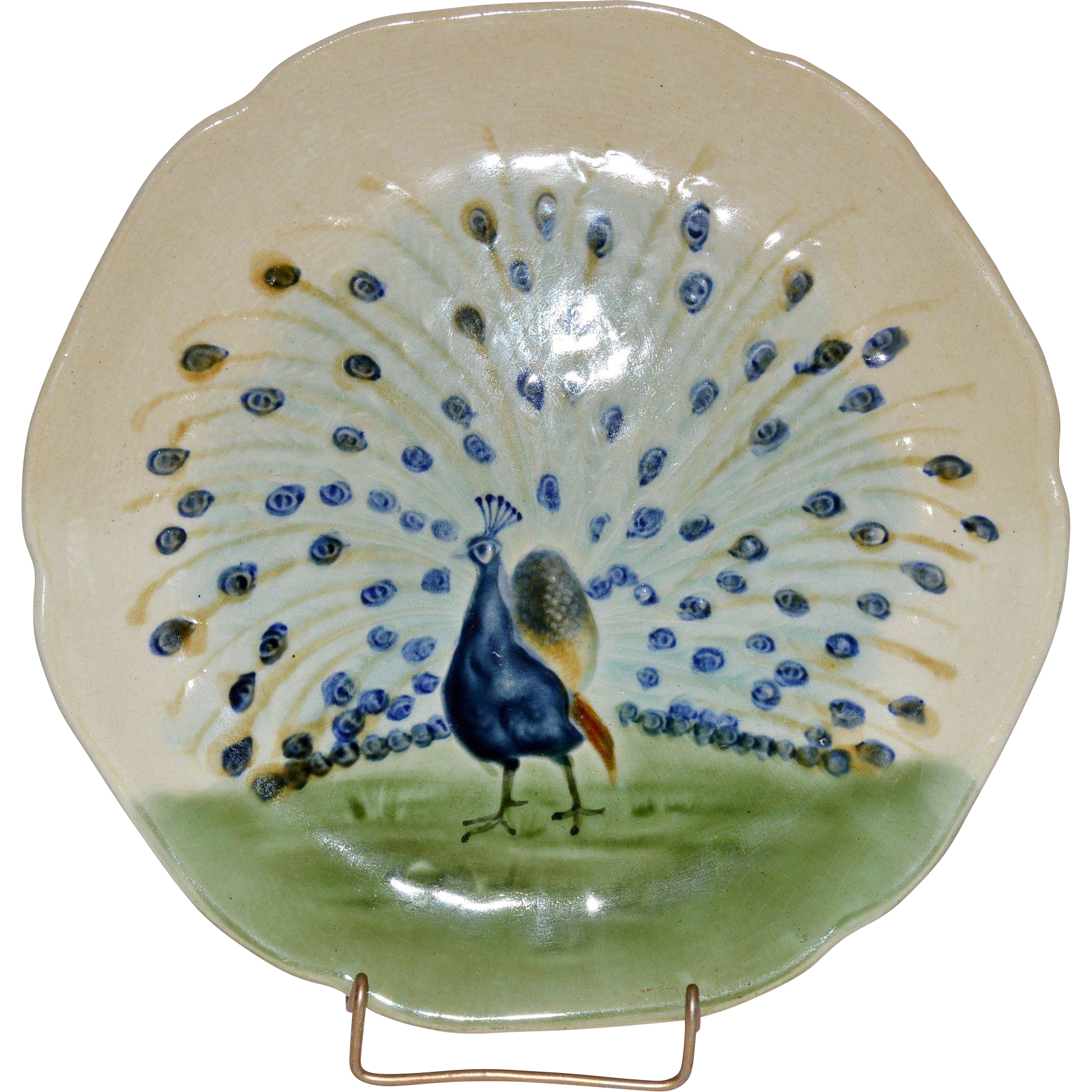 Peacock Cabinet Plate ~ French Majolica /Faience ~ H Boulenger & CO France ~ 1860-1910
