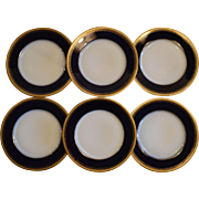 Set of 6 Plates~ Limoges Porcelain ~ Cobalt Blue ~ Gold Encrusted Rim ~ Charles Martin - Martin & Duches  Martin Freres  ~ Limoges France ~ Marshall Fields & Co  1912-1935