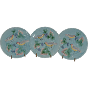 "3 Plates - German Majolica ~  7 3/4"" ~Turquoise ~ Birds, grapes and Leaves ~ Germany 1920's"