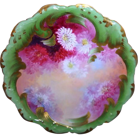 A. Bronssillon Limoges Masterpiece of Burgundy, Pink & White Chrysanthemums Hand Painted Plate – B & H Limoges 1900-1914  & Coiffe