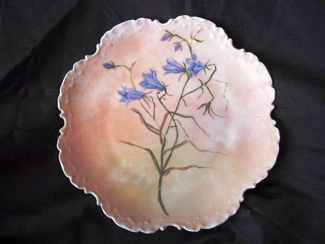 Outstanding Rosenthal Cabinet Plate Hand Painted with Blue Wispy flowers on a Peach Background – Bavaria 1896-1907