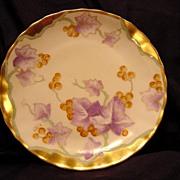 Unusual Limoges Porcelain Cabinet Plate ~ Hand Painted with Golden Grapes ~Art Nouveau ~ Artist Signed ~Bawo & Dotter (Elite Works) 1900-1914