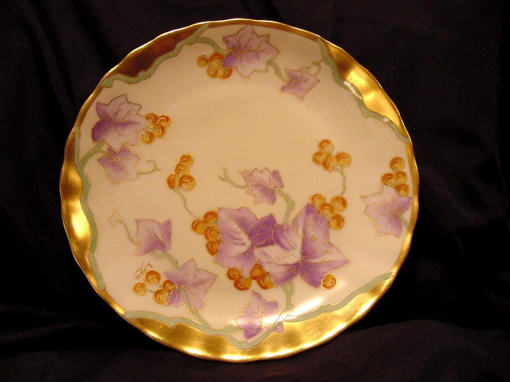 50% OFF!  Unusual Limoges Porcelain Cabinet Plate ~ Hand Painted with Golden Grapes ~Art Nouveau ~ Artist Signed ~Bawo & Dotter (Elite Works) 1900-1914