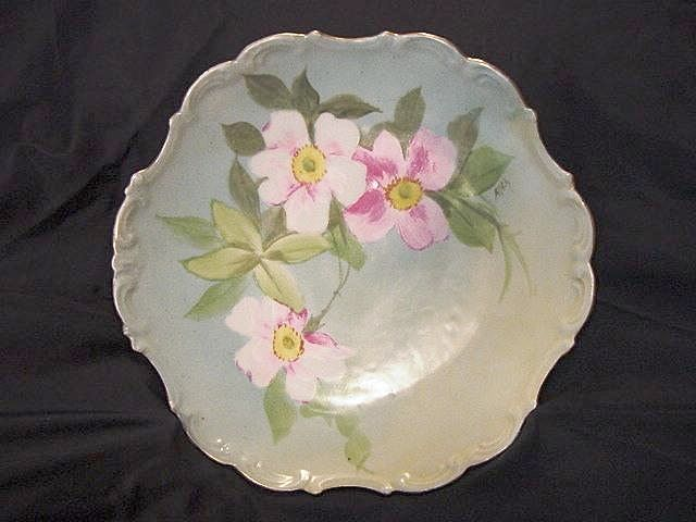 50% OFF! Wonderful Limoges Porcelain Cabinet Plate Hand Painted with Soft Pink & White Wild Roses by MAX ~ Flambeau China – 1891-1901