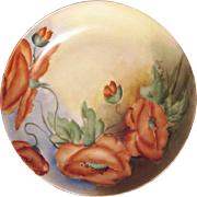 Stunning Bavarian Porcelain Cabinet Plate ~ Hand Painted with Vibrant Orange Poppies ~ Artist Signed 'M Bay' ~ L. Hutschenreuther  1894-1931
